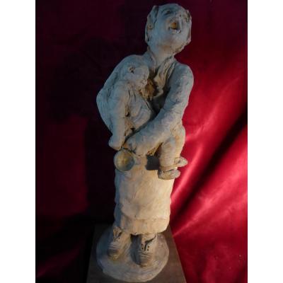 Statuette Terre Cuite Louis Falcke Mendiante