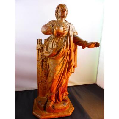 Sainte Barbe Statue Bois 17 Eme Siecle