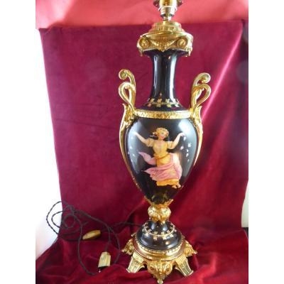 Pied De Lampe Napoleoniii Faience Peinte Et Bronze