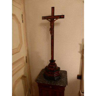 Grand Crucifix D Autel Buis Et Ecaille Fin 17 Eme