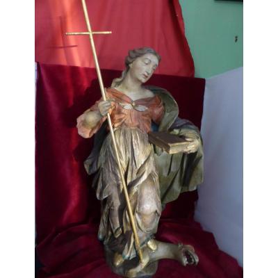Marguerite Sainte Statue Poluchrome 17 Eme Siecle