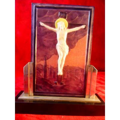 Argy Rousseau Plaque Cruxifixion Pate De Verre