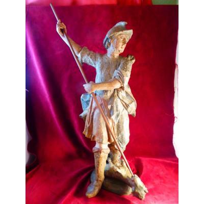 Saint Georges Statue Polychrome 18 Eme Siecle
