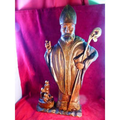 Saint Nicolas Statue Bois Polychrome