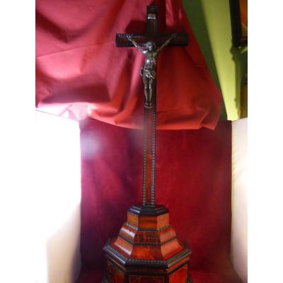 Crucifix Ebene Ecaille Et Argent 17 Eme