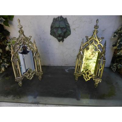 Miroirs Neo Gothiques Paire  Bronze