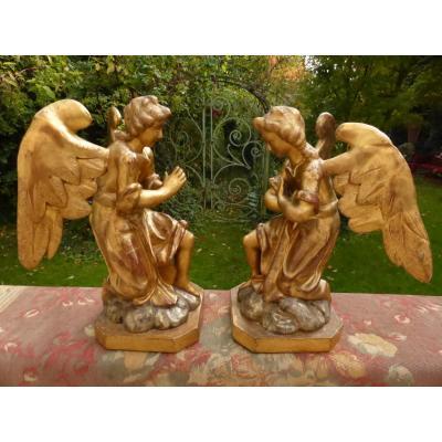 Anges Adorateurs En Bois Dore Paire