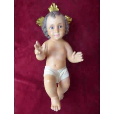 Enfant Jesus De Creche Platre Yeux En Sulfure
