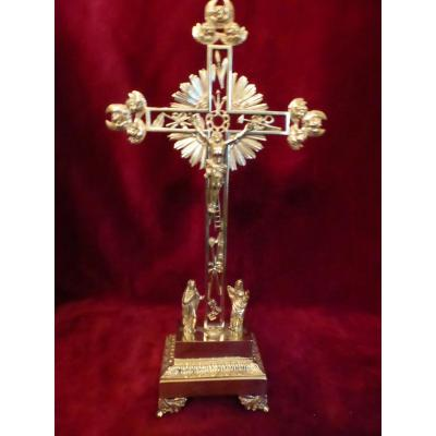 Calvary Crucifix Brass Dore Empire