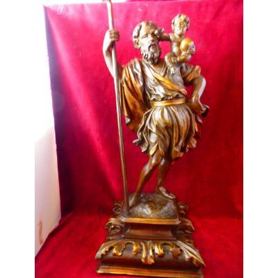 Saint Christophe Statue Bois Espagne