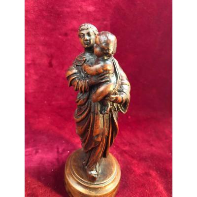 Vierge A L Enfant Bois XVIII Siecle