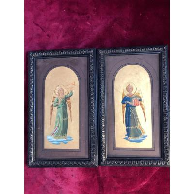 Anges Musiciens Miniatures A Tempera Fra Angelico fond or
