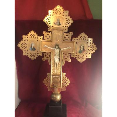Croix Byzantine Laiton Dore Et Peinte