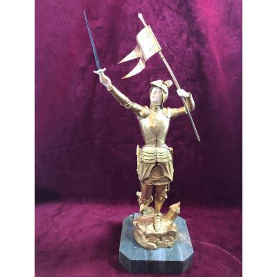 Jeanne D Arc Bronze Dore Chriselephantin