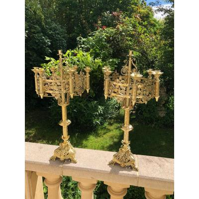 Pair Of Large Altar Candelabra