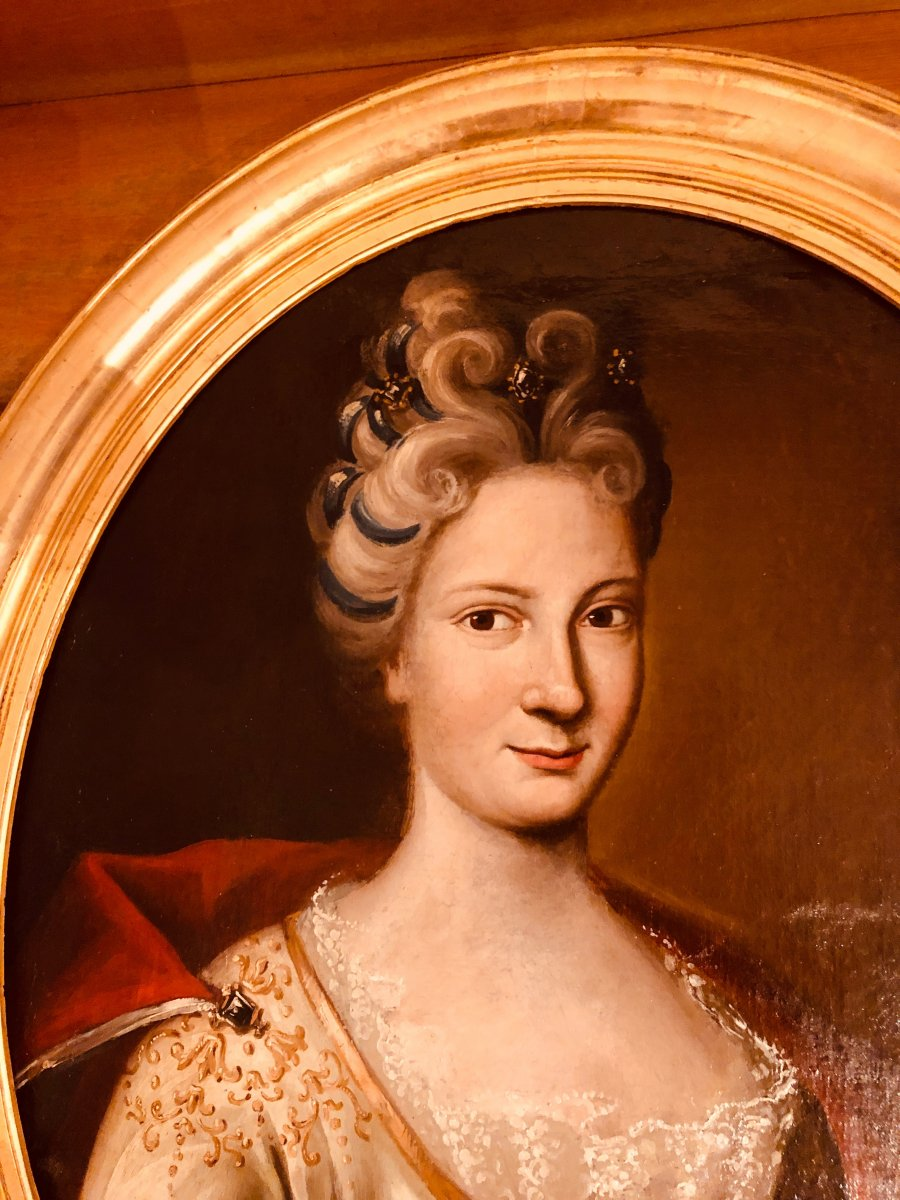 Portrait d'une Dame de Qualité , Epoque XVIIIème Siècle -photo-2