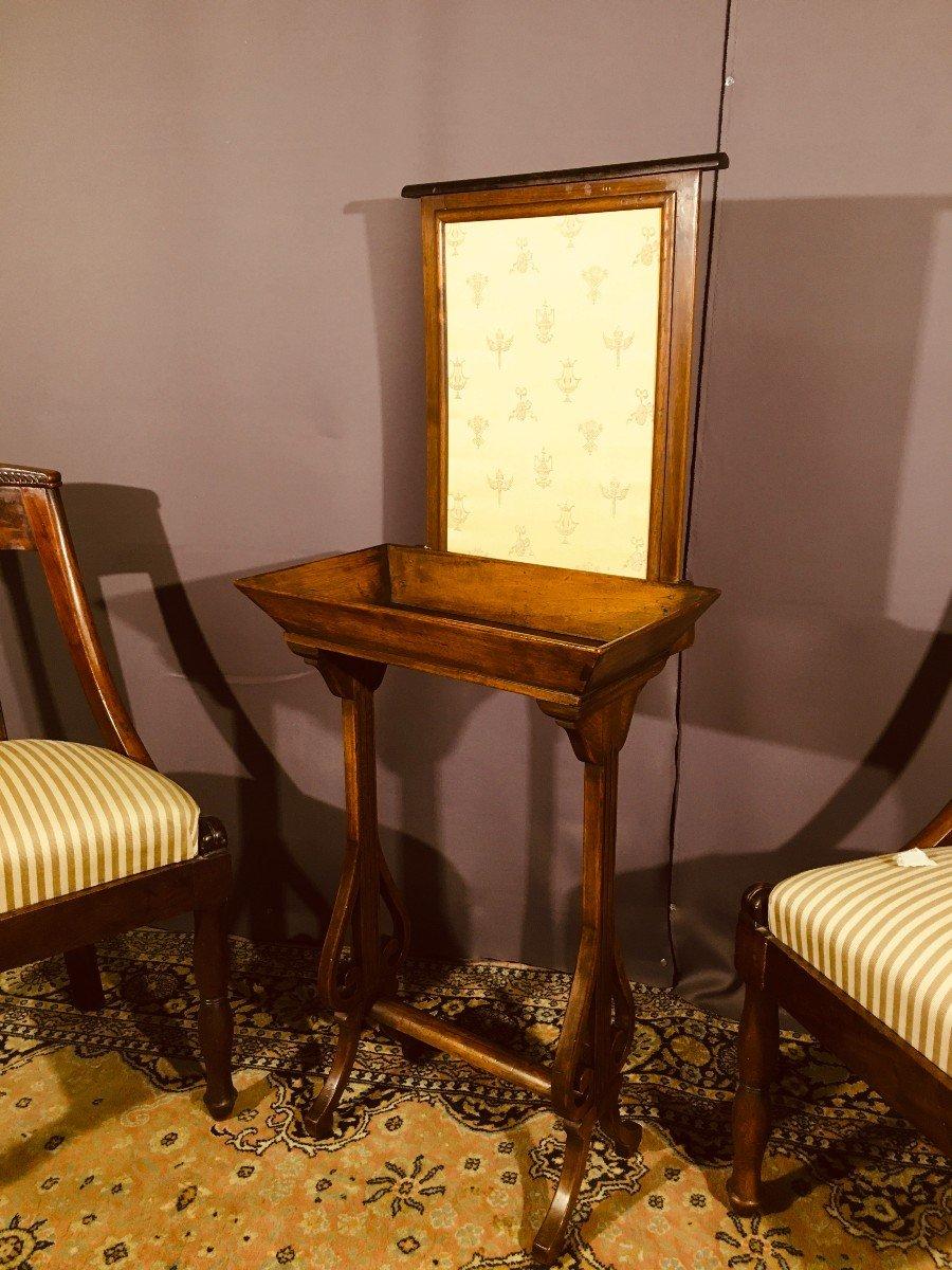 Travailleuse Avec écran , Pied Lyre  Du XIXe Siècle -photo-8