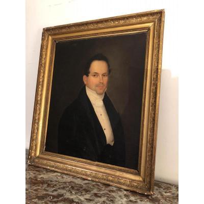Ecole Française , Portrait d'Un Notable , Epoque Premier Empire