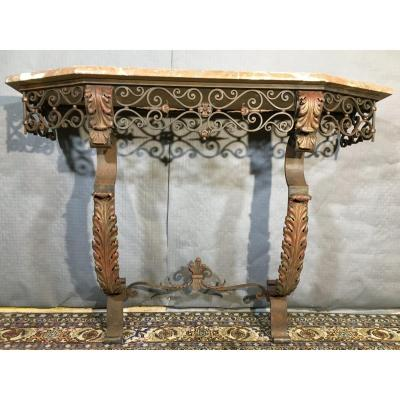 Wrought Iron Console Louis XV Style, Nineteenth Century Period.
