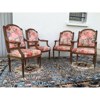 Series Of 4 Louis XVI Armchairs, Flat Back Said To The Queen, XVIIIth Century Period
