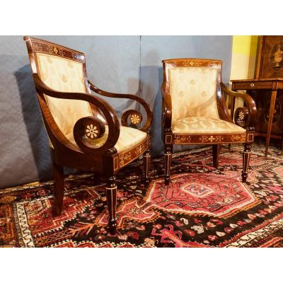Pair Of Charles X Period Gondola Armchairs