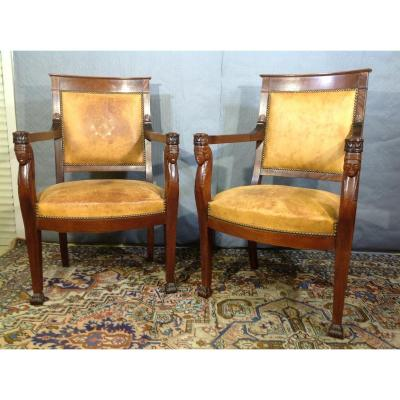 Pair Of Mahogany Armchairs, Empire Style