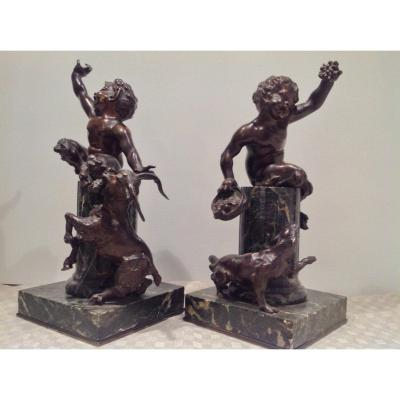 Paire De Puttis / Satyres En Bronze , Epoque XIXème