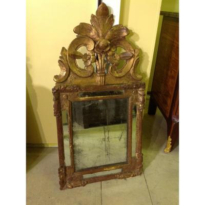 Miroir Regence Avec Fronton  , Epoque XVIIIe