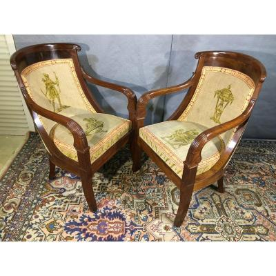Pair Of Gondola Armchairs, Empire Period
