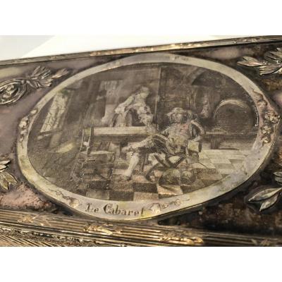 """Boite En Bronze Argenté """" Le Cabaret """" Longueur 32 Cm"""