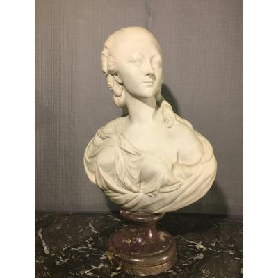 Marble Bust After Pajou, Countess Of Barry, 19th Century