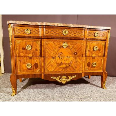 Transition Commode In Marquetry, Nineteenth Epoque