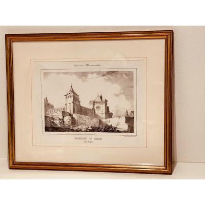 Framed Engraving Chateau De Biron, Monumental Guienne In Dordogne