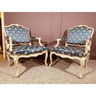 Pair Of Large Louis XV Armchairs, With Flat Backs