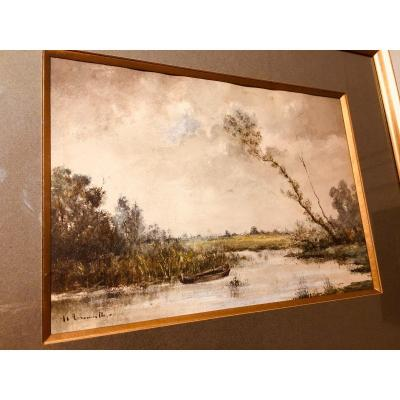 Watercolor Signed Henri-charles Trouville, Nineteenth Epoque