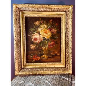 Tableau Vase De Fleurs Signé Et Daté 1907