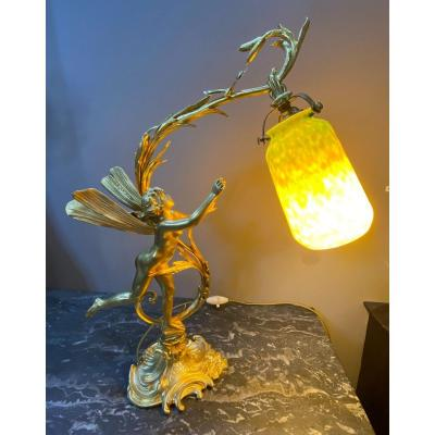 Art Nouveau Bronze Lamp With The Fairy Signed Ferville-suan And Daum