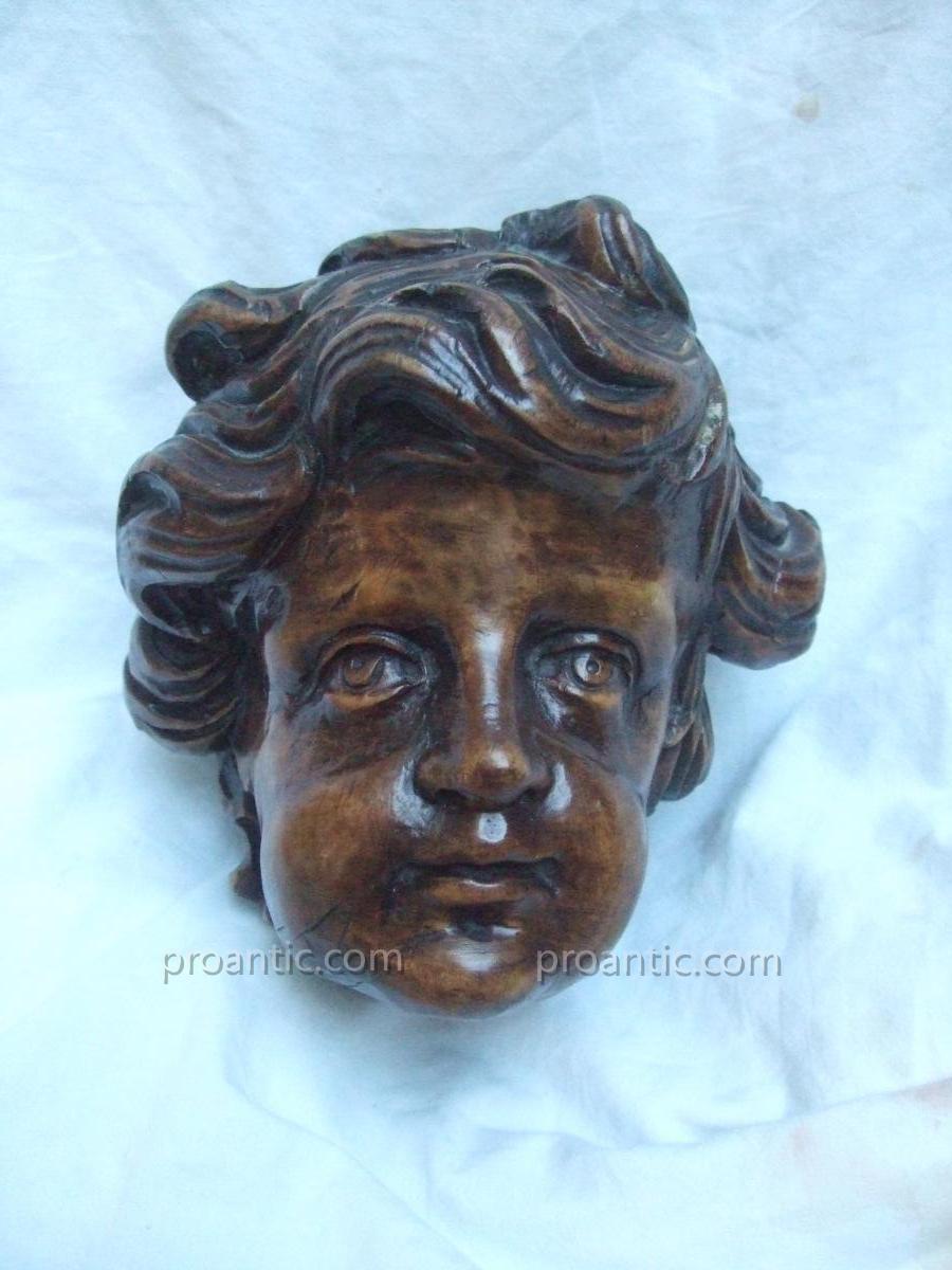 Angel Head Wooden Walnut Waxed