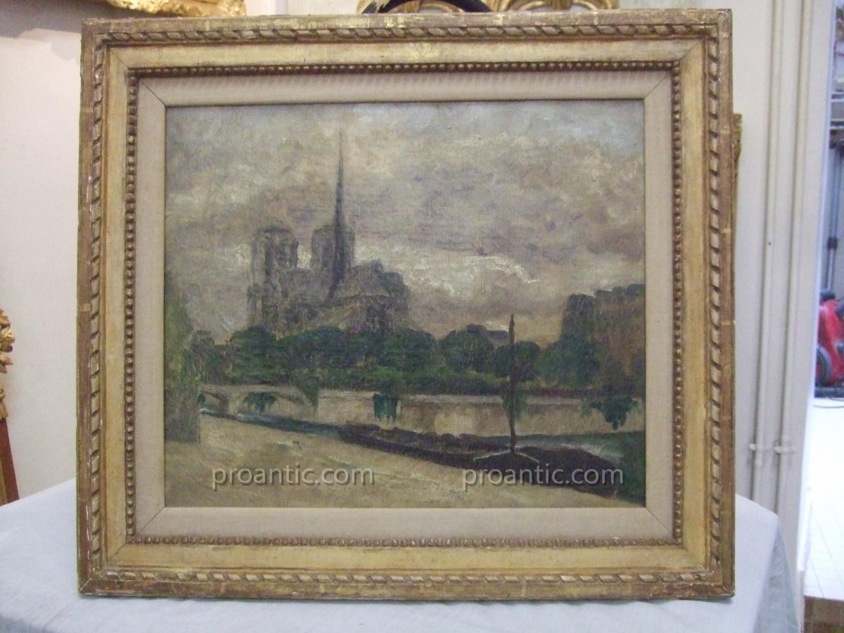 Tableau XIXème Paris- Notre-Dame