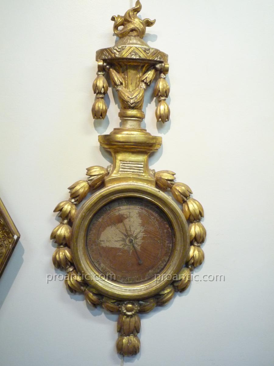 Baromètre en bois doré d'époque Napoléon III