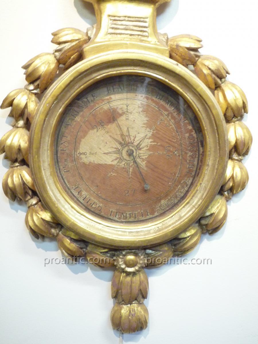 Baromètre en bois doré d'époque Napoléon III-photo-3