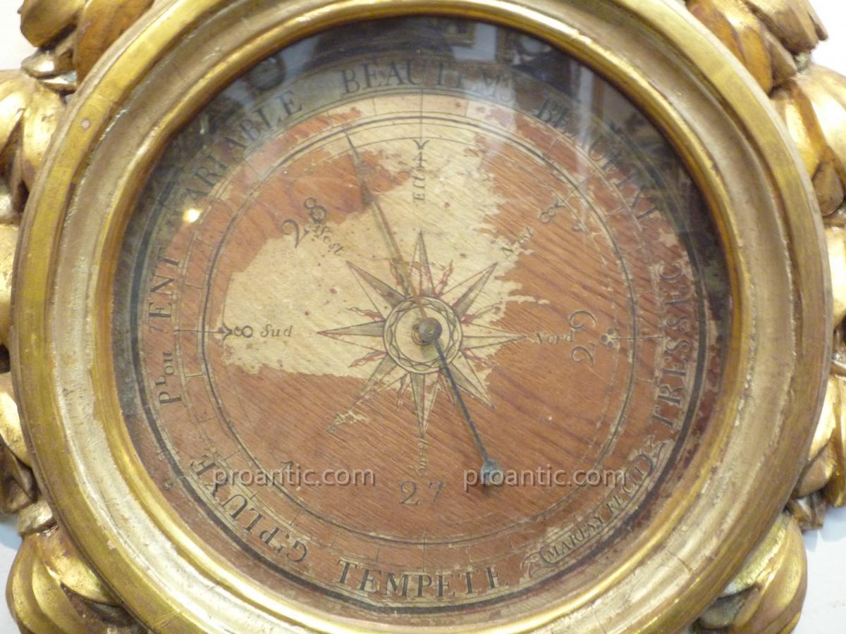 Baromètre en bois doré d'époque Napoléon III-photo-4