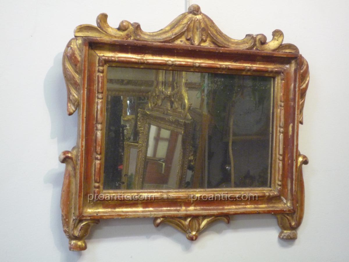 Petit Miroir XVIIIème En Bois Doré