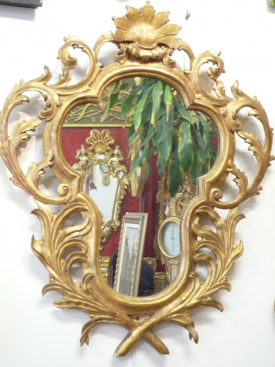18th Century Mirror Carved Gilded Wood.