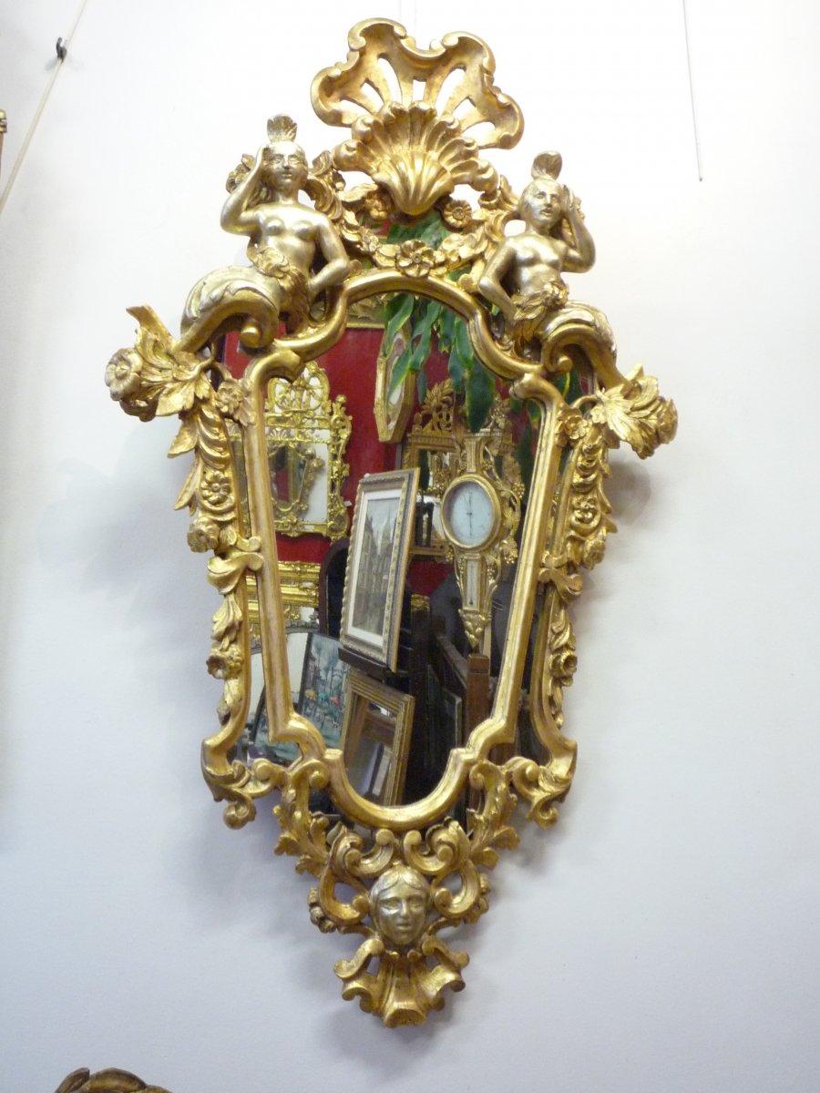 Miroir italien en bois doré début 19ème