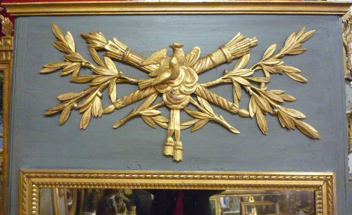 Trumeau d'époque Louis XVI en bois sculpté et doré.-photo-2