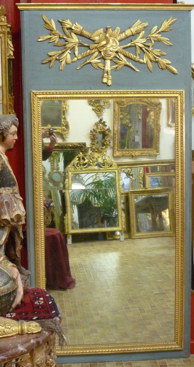 Trumeau d'époque Louis XVI en bois sculpté et doré.-photo-3