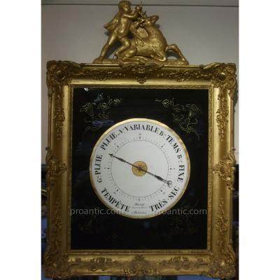 Baromètre en bois doré d'époque XIXème