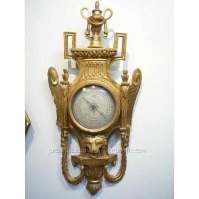 Baromètre en bois doré d'époque Louis XVI