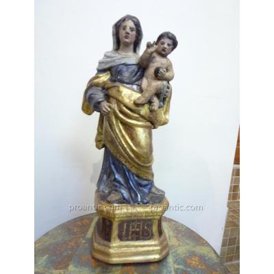 Vierge à l'Enfant, Bois Doré, Argenté Et Peint, XVIIIème